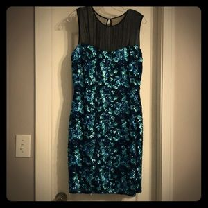 NWT Belle Badgley Mischka blue sequin and mesh